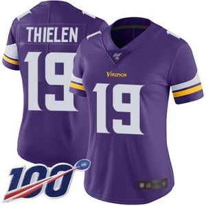 Women Vikings #19 Adam Thielen 100th Season Jersey